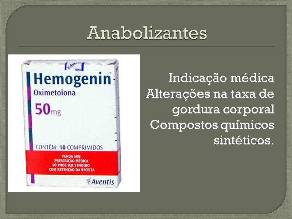 Anabolizantes Indicação médica Alterações na taxa de gordura corporal Compostos químicos sintéticos.