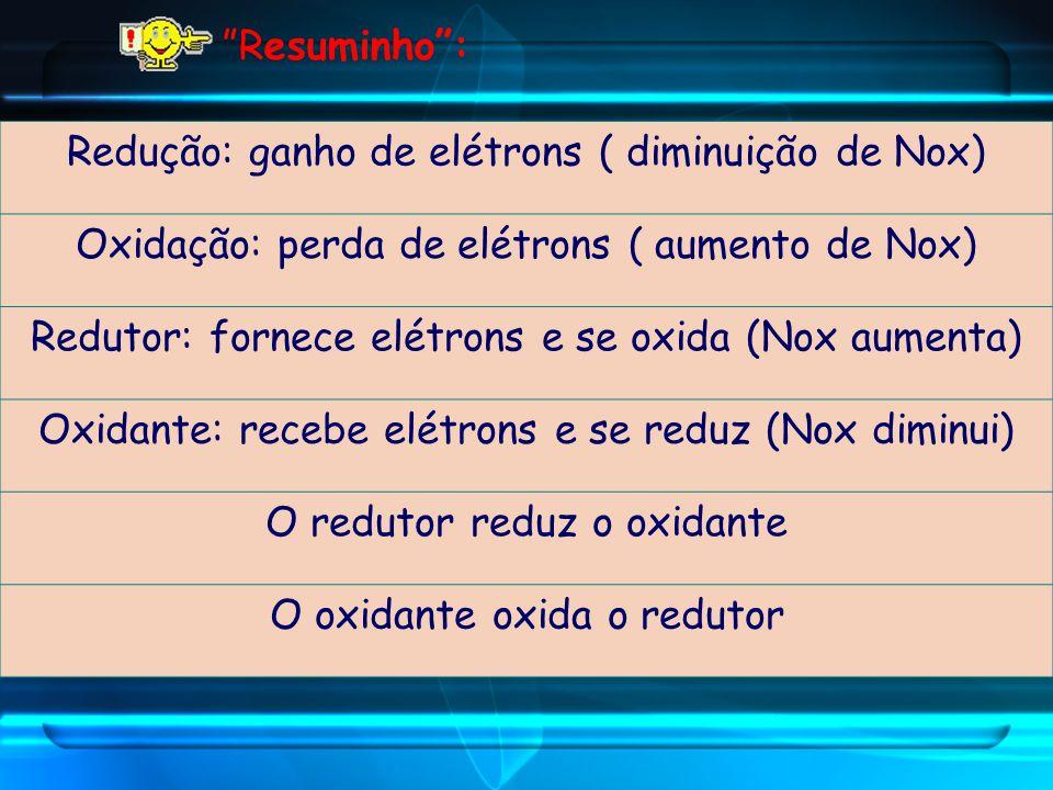 Redução: ganho de elétrons ( diminuição de Nox)