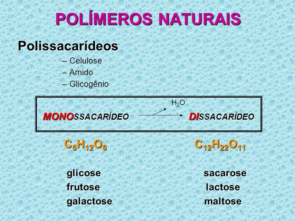 POLÍMEROS NATURAIS Polissacarídeos C6H12O6 C12H22O11 glicose sacarose