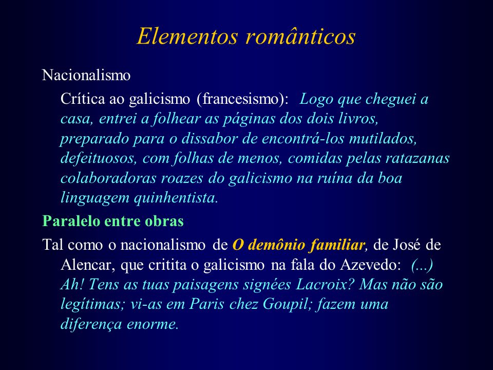 Elementos românticos Nacionalismo