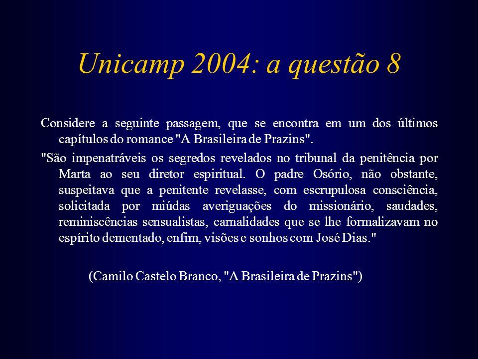 Unicamp 2004: a questão 8 Considere a seguinte passagem, que se encontra em um dos últimos capítulos do romance A Brasileira de Prazins .