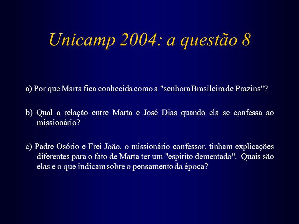 Unicamp 2004: a questão 8 a) Por que Marta fica conhecida como a senhora Brasileira de Prazins