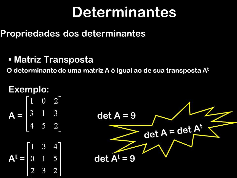 Determinantes Propriedades dos determinantes Matriz Transposta