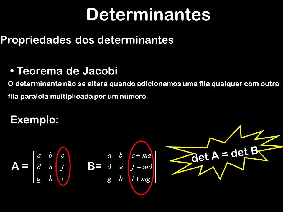 Determinantes Propriedades dos determinantes Teorema de Jacobi