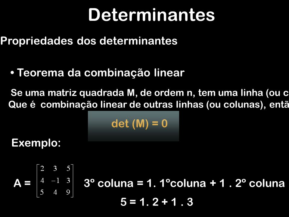 Determinantes Propriedades dos determinantes
