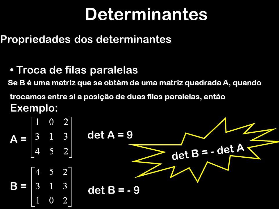 Determinantes Propriedades dos determinantes Troca de filas paralelas