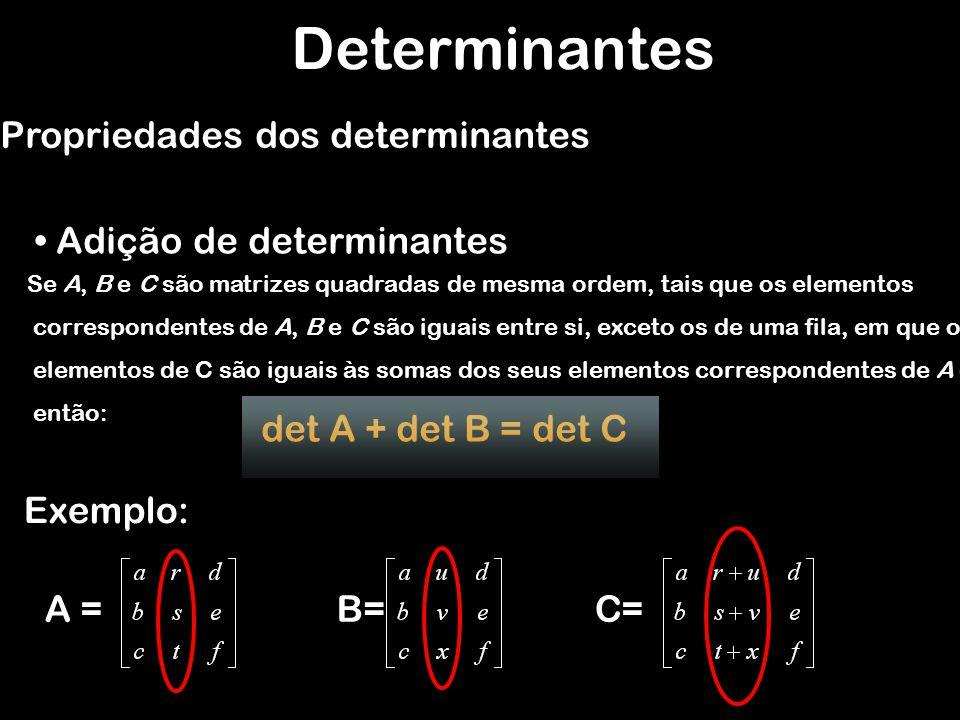 Determinantes Propriedades dos determinantes Adição de determinantes