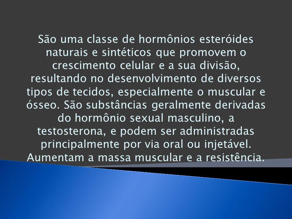 São uma classe de hormônios esteróides naturais e sintéticos que promovem o crescimento celular e a sua divisão, resultando no desenvolvimento de diversos tipos de tecidos, especialmente o muscular e ósseo.