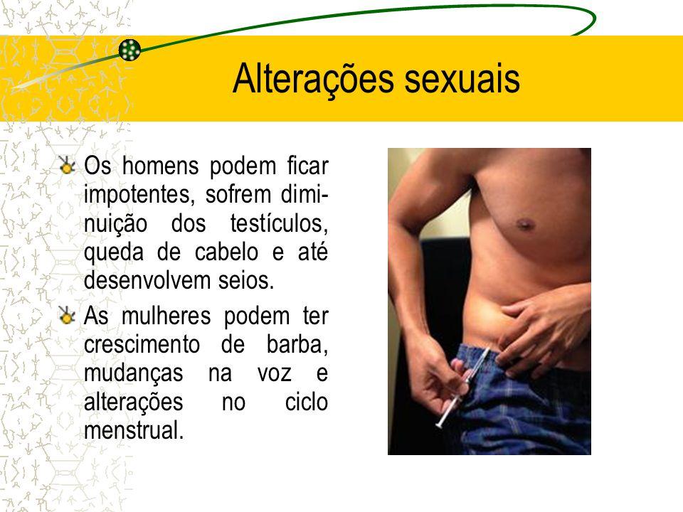 Alterações sexuais Os homens podem ficar impotentes, sofrem dimi-nuição dos testículos, queda de cabelo e até desenvolvem seios.