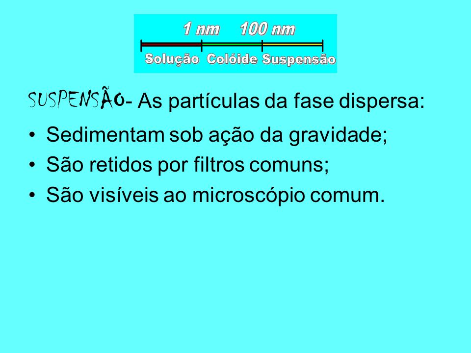 SUSPENSÃO- As partículas da fase dispersa: