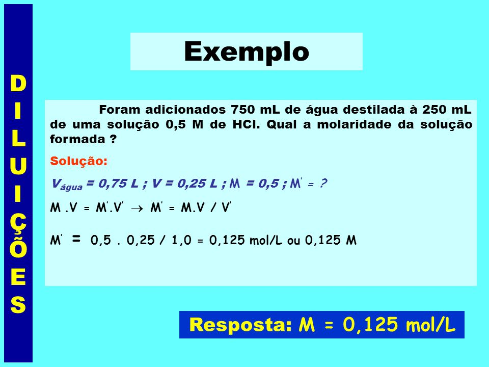Exemplo DILUIÇÕES Resposta: M = 0,125 mol/L