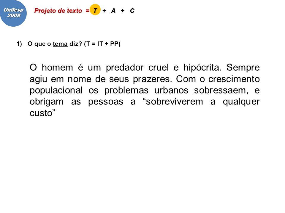 Unifesp 2009. Projeto de texto = T + A + C. O que o tema diz (T = IT + PP)