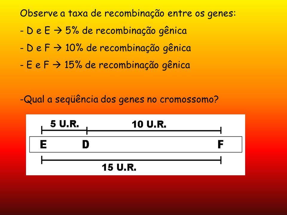 Observe a taxa de recombinação entre os genes: