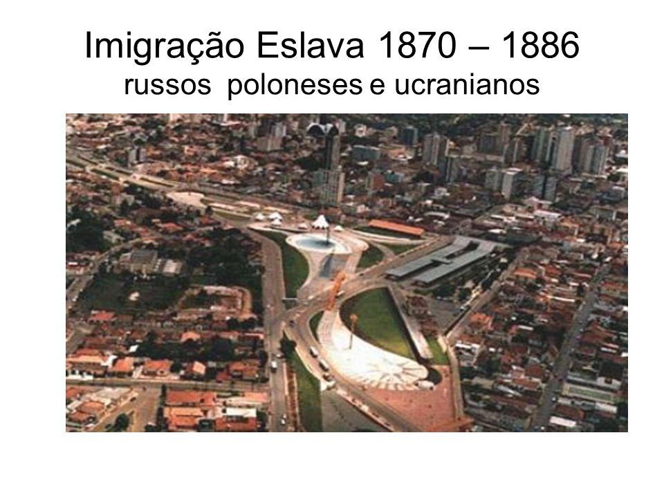 Imigração Eslava 1870 – 1886 russos poloneses e ucranianos
