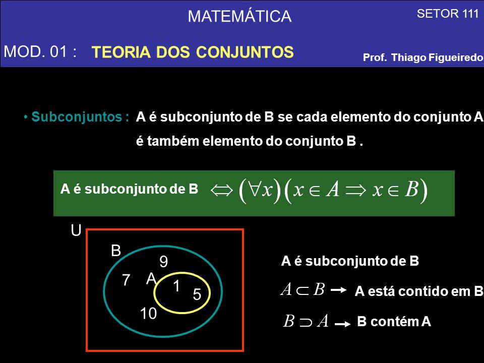 MATEMÁTICA MOD. 01 : TEORIA DOS CONJUNTOS A 1 5 7 9 10 B U