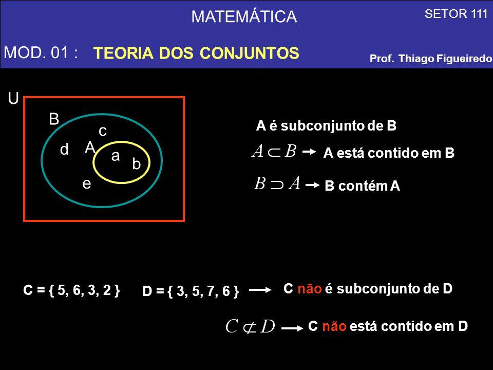 MATEMÁTICA MOD. 01 : TEORIA DOS CONJUNTOS A a b d c e B U