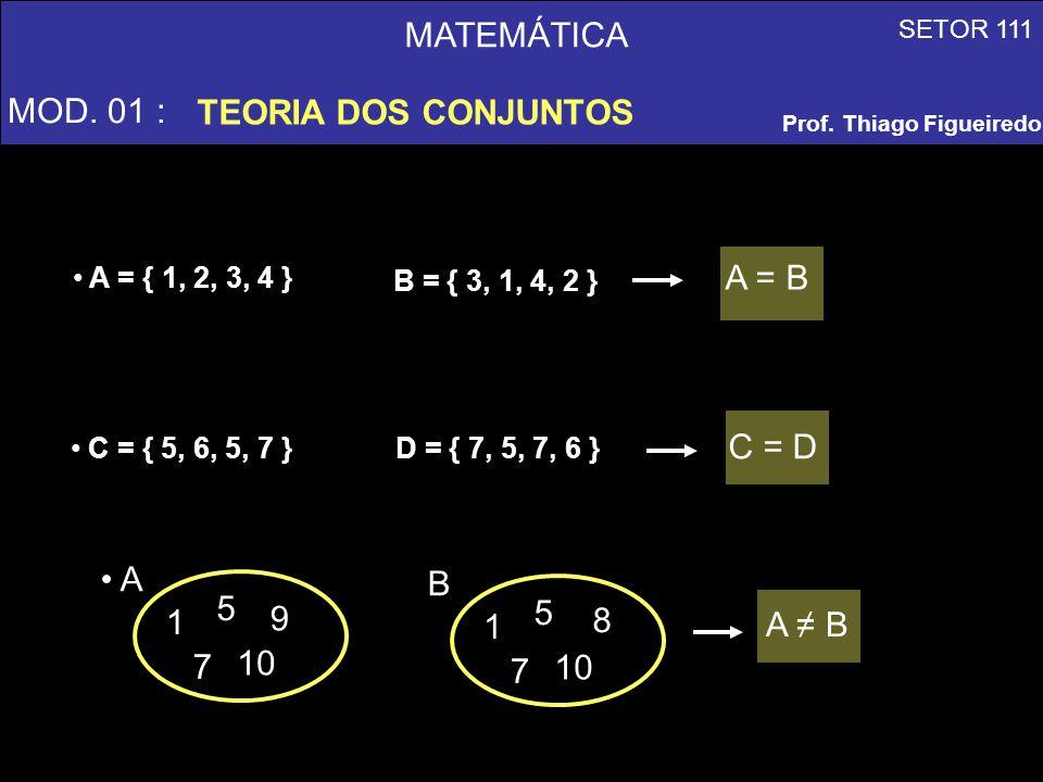 MATEMÁTICA MOD. 01 : TEORIA DOS CONJUNTOS A = B C = D A 1 5 7 9 10 B 1