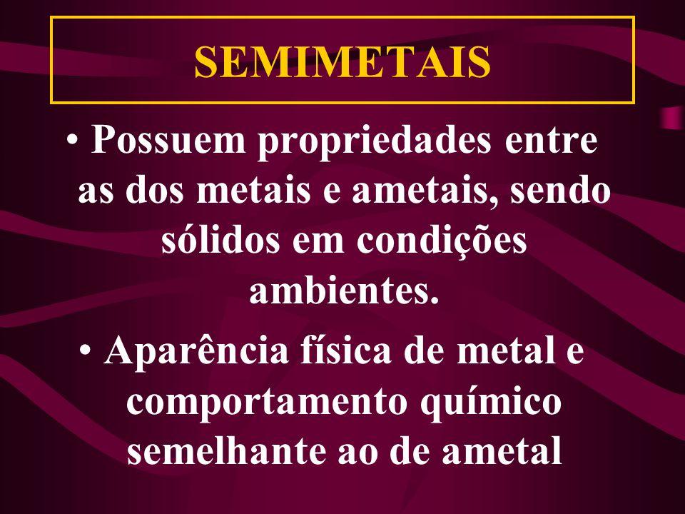 SEMIMETAIS Possuem propriedades entre as dos metais e ametais, sendo sólidos em condições ambientes.