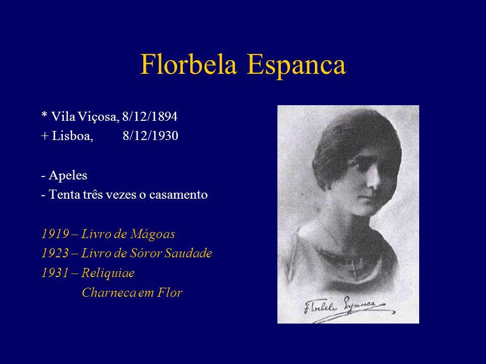 Florbela Espanca * Vila Viçosa, 8/12/1894 + Lisboa, 8/12/1930 - Apeles