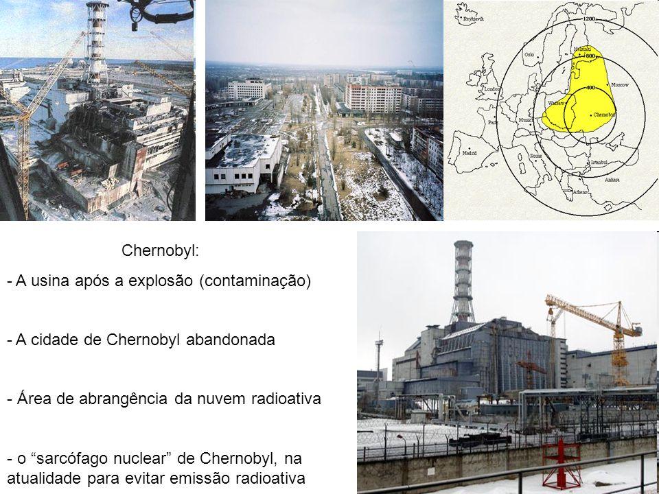 Chernobyl: A usina após a explosão (contaminação) A cidade de Chernobyl abandonada. Área de abrangência da nuvem radioativa.