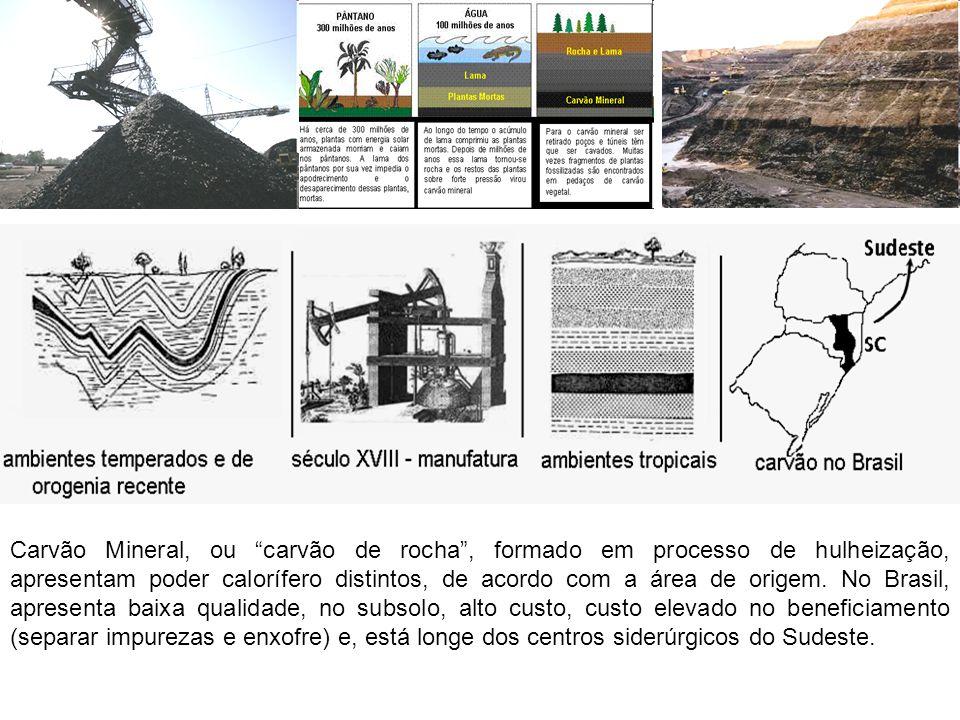 Carvão Mineral, ou carvão de rocha , formado em processo de hulheização, apresentam poder calorífero distintos, de acordo com a área de origem.