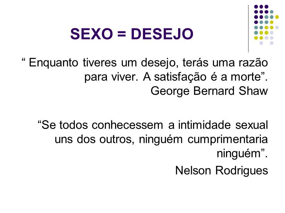 SEXO = DESEJO Enquanto tiveres um desejo, terás uma razão para viver. A satisfação é a morte . George Bernard Shaw.