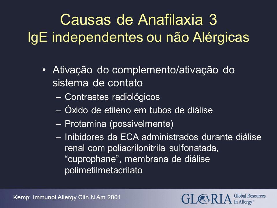 Causas de Anafilaxia 3 IgE independentes ou não Alérgicas