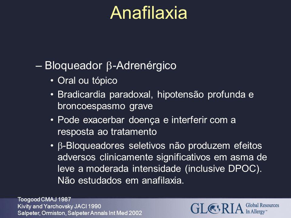 Anafilaxia Bloqueador -Adrenérgico Oral ou tópico