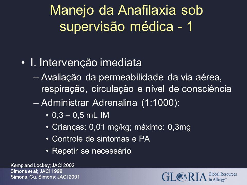 Manejo da Anafilaxia sob supervisão médica - 1