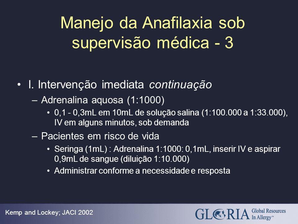 Manejo da Anafilaxia sob supervisão médica - 3