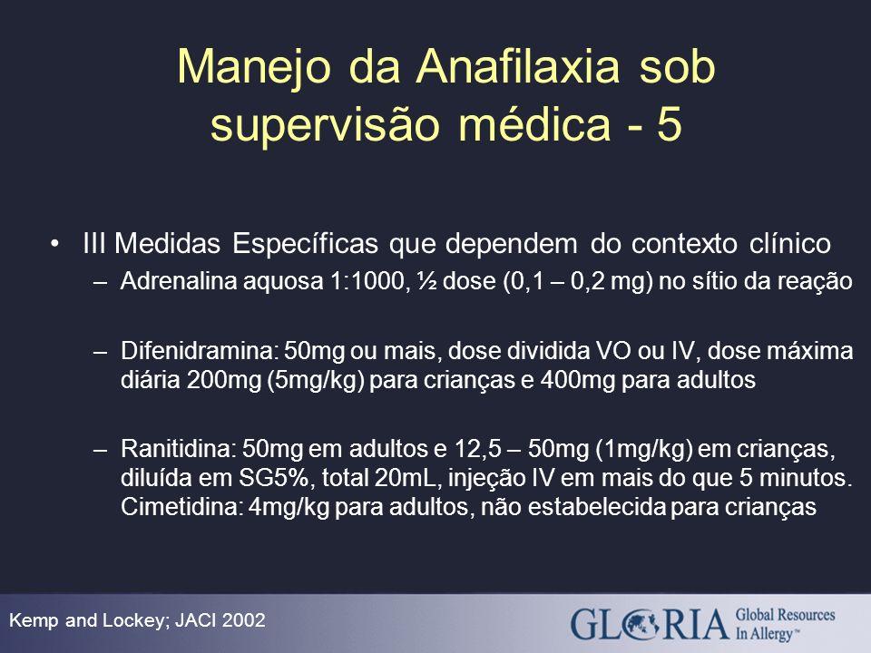 Manejo da Anafilaxia sob supervisão médica - 5
