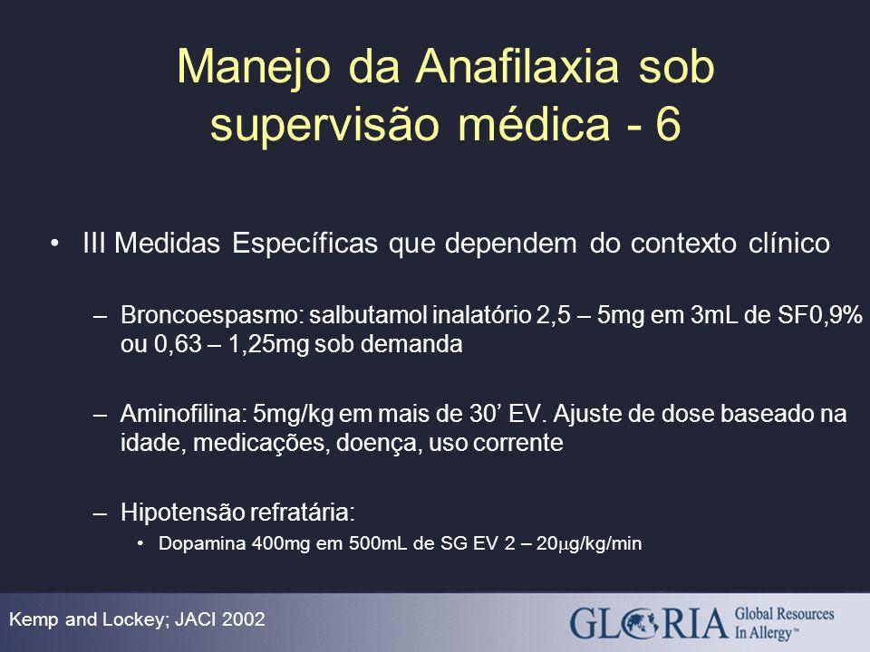 Manejo da Anafilaxia sob supervisão médica - 6