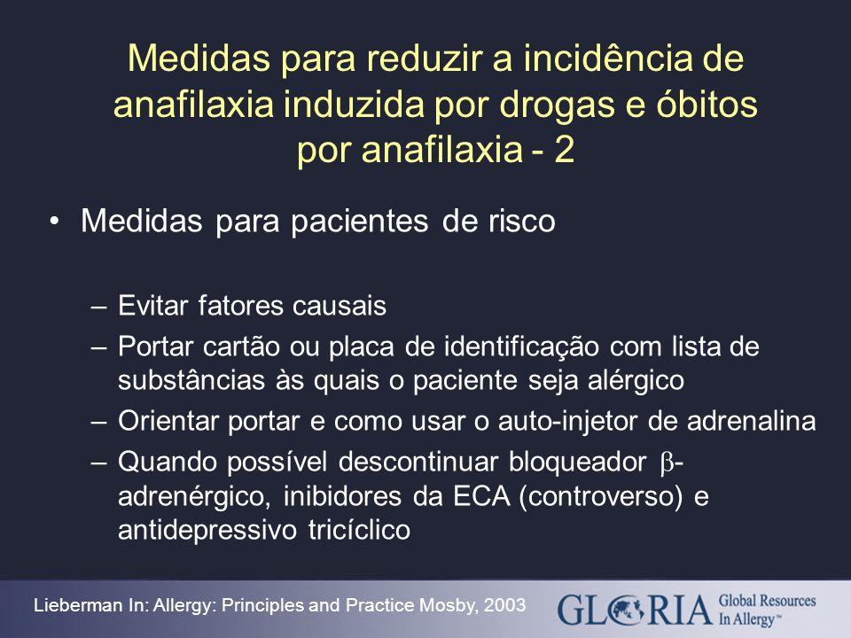 Medidas para reduzir a incidência de anafilaxia induzida por drogas e óbitos por anafilaxia - 2