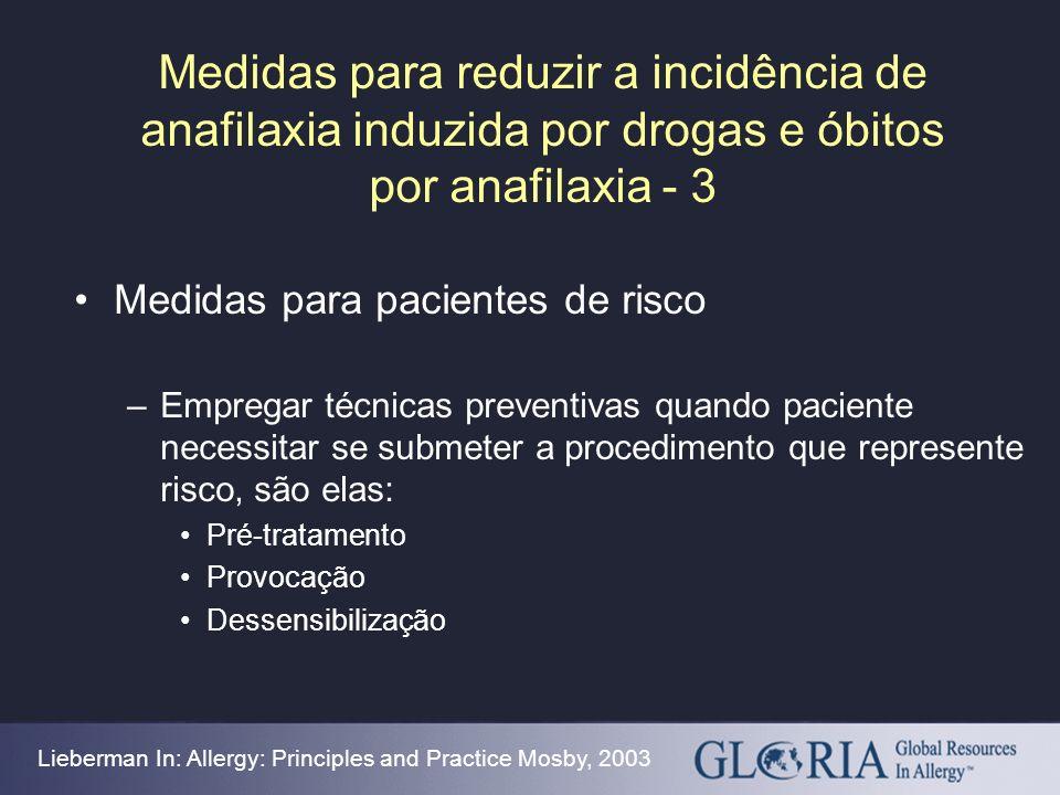 Medidas para reduzir a incidência de anafilaxia induzida por drogas e óbitos por anafilaxia - 3