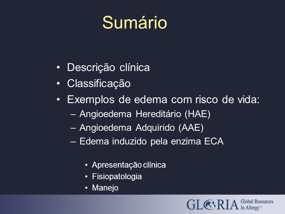 Sumário Descrição clínica Classificação