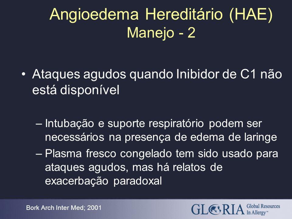 Angioedema Hereditário (HAE) Manejo - 2