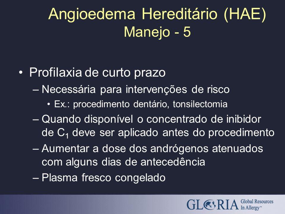 Angioedema Hereditário (HAE) Manejo - 5