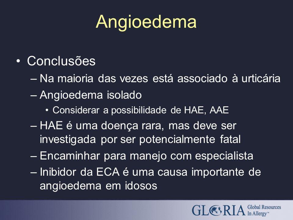 Angioedema Conclusões Na maioria das vezes está associado à urticária