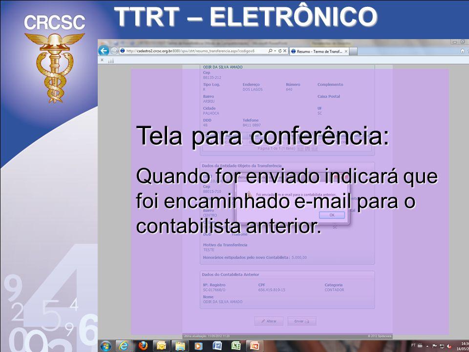 Tela para conferência: