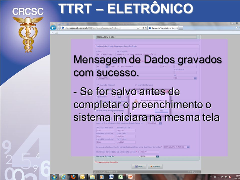 TTRT – ELETRÔNICO Mensagem de Dados gravados com sucesso.
