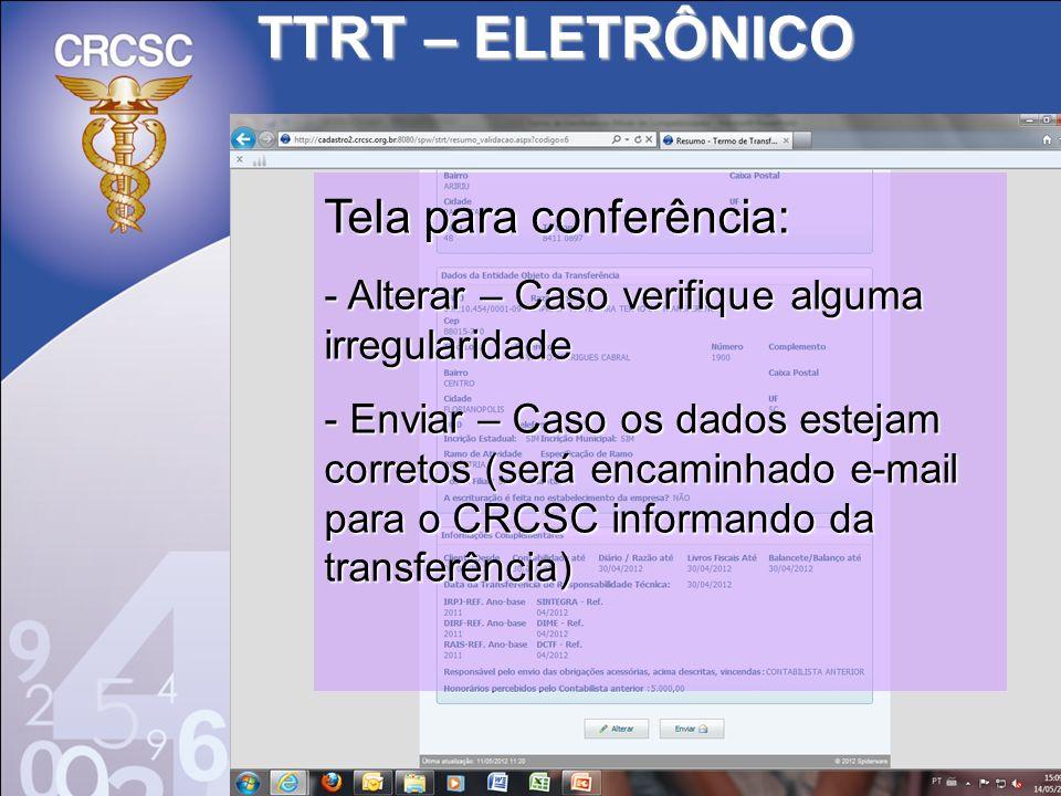 TTRT – ELETRÔNICO Tela para conferência: