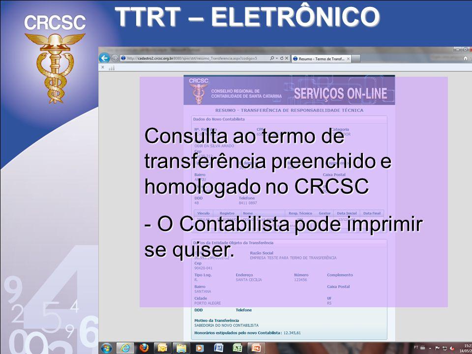 TTRT – ELETRÔNICO Consulta ao termo de transferência preenchido e homologado no CRCSC.