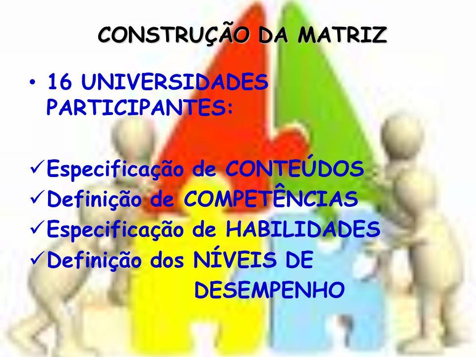 CONSTRUÇÃO DA MATRIZ 16 UNIVERSIDADES PARTICIPANTES: Especificação de CONTEÚDOS. Definição de COMPETÊNCIAS.