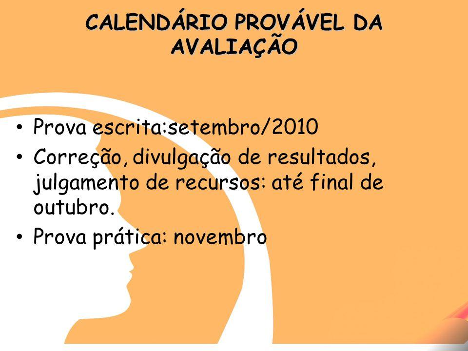 CALENDÁRIO PROVÁVEL DA AVALIAÇÃO