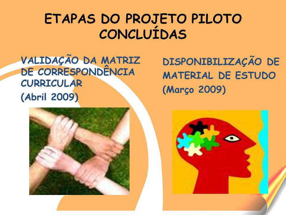 ETAPAS DO PROJETO PILOTO CONCLUÍDAS