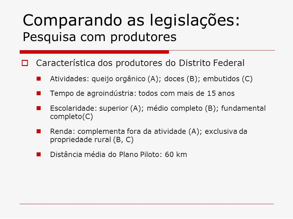 Comparando as legislações: Pesquisa com produtores