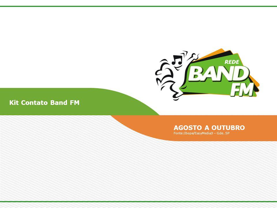 Kit Contato Band FM AGOSTO A OUTUBRO Fonte:Ibope/EasyMedia3 – Gde. SP
