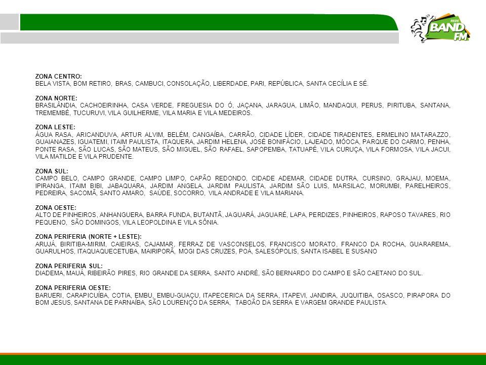 ZONA CENTRO: BELA VISTA, BOM RETIRO, BRAS, CAMBUCI, CONSOLAÇÃO, LIBERDADE, PARI, REPÚBLICA, SANTA CECÍLIA E SÉ.