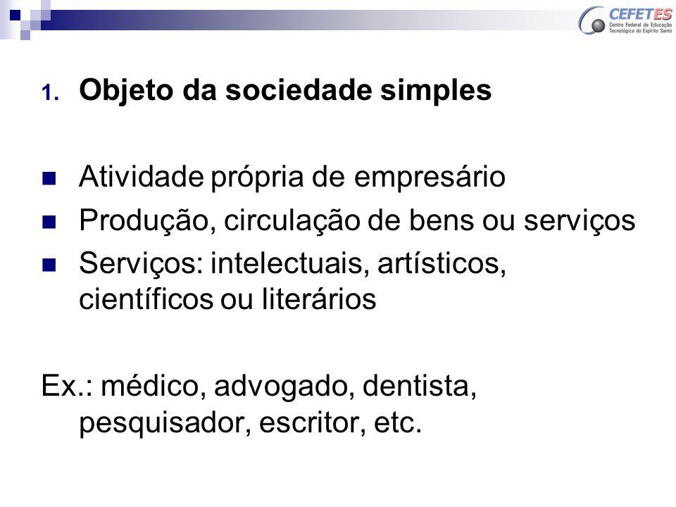Objeto da sociedade simples