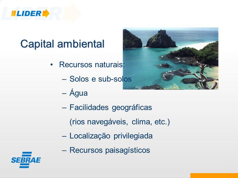 Capital ambiental Recursos naturais: Solos e sub-solos Água